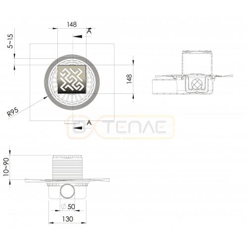 Душевой трап BERGES ZENTRUM Antik 150х150, золото хром, боковой выпуск сифон D50 H65