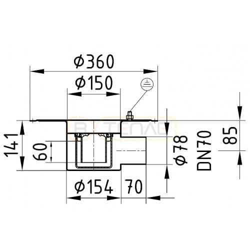 Дренажный трап с горизонтальным штуцером BASIKA л/c 1,4 DN 70