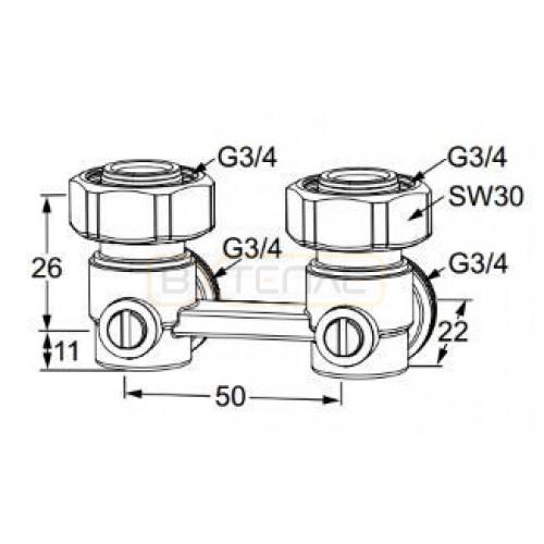 """Клапан для нижнего подключения IMI Heimeier VEKOTRIM, для двухтрубной системы, G 3/4"""" x G 3/4"""", угловой, латунь"""