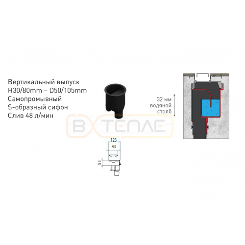 Душевой лоток BERGES TOP Stark 600, хром глянец, вертикальный выпуск S-сифон D50/105мм H30/80мм