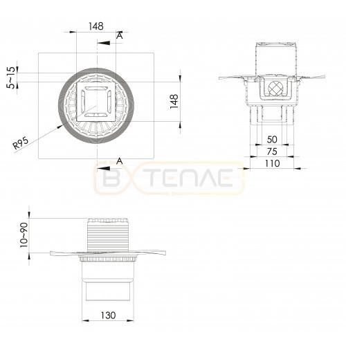 Душевой трап BERGES ZENTRUM Norma 150х150, матовый хром, вертикальный выпуск сифон D50/70/100мм H74