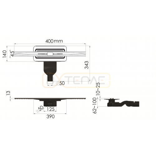 Душевой лоток BERGES SIMPEL 400, матовый хром, боковой выпуск S-сифон D50 H60