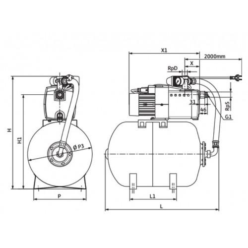Насосная станция c мембранным баком Wilo HiMulti 3 H 100/2-24 P