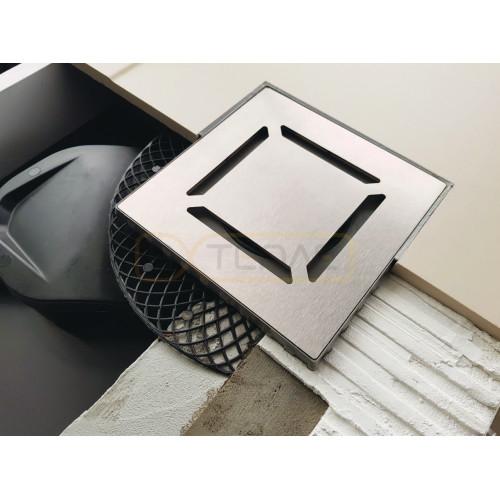 Душевой трап BERGES PLATZ Norma 100х100, матовый хром, боковой выпуск S-сифон D50 H60