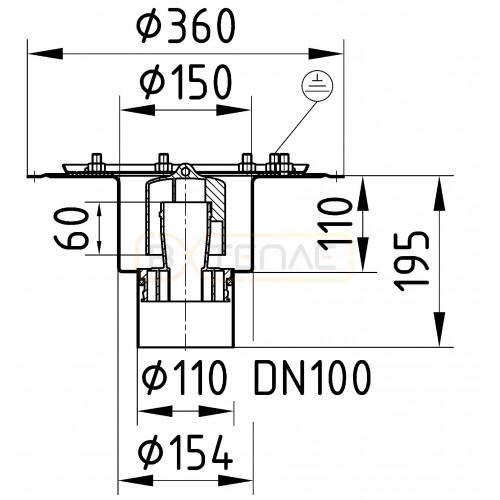 Дренажный трап BASIKA л/c 1,6 DN 100 VP