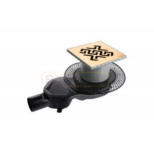 Душевой трап BERGES PLATZ Antik 150х150, золото хром, боковой выпуск S-сифон D50 H60