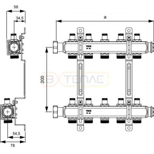 """Коллектор TECE с вентелями для систем отопления, 1"""" x 3/4""""Ек, 10 контуров 712548"""
