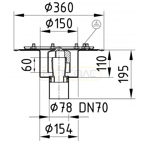 Дренажный трап BASIKA л/c 1,4 DN 70