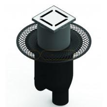 Душевой трап BERGES PLATZ Norma 100х100, матовый хром, вертикальный выпуск S-сифон D50/105мм H30/80мм