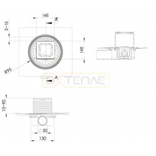 Душевой трап BERGES ZENTRUM Norma 150х150, матовый хром, боковой выпуск сифон D50 H65