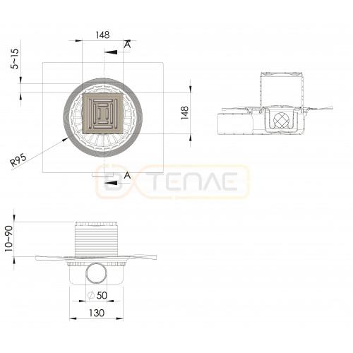 Душевой трап BERGES ZENTRUM Uno 150х150, матовый хром, боковой выпуск сифон D50 H65