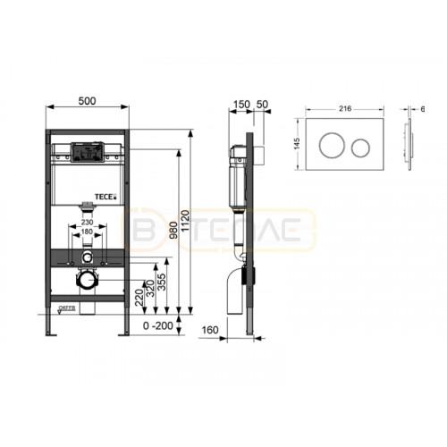 Инсталляция для подвесного унитаза TECEbase 4 в 1 с белой кнопкой смыва TECEloop K400600