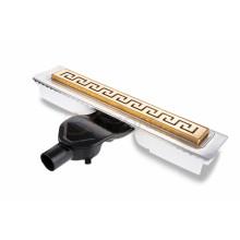 Душевой лоток BERGES В1 Antik 500, золото глянец, боковой выпуск S-сифон D50 H60