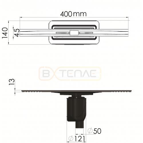 Душевой лоток BERGES SIMPEL 400, матовый хром, вертикальный выпуск S-сифон D50/105мм H30/80мм