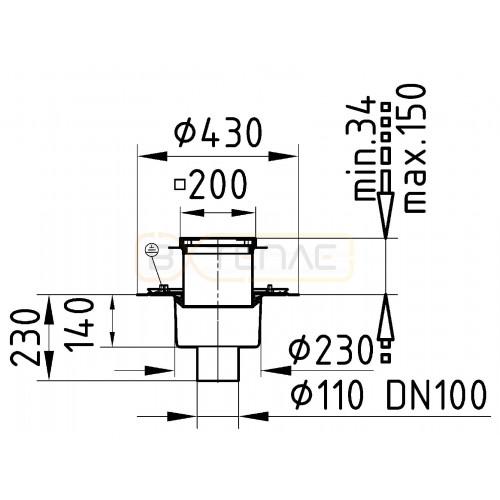 Надставной элемент для очистки BASIKA с рамкой 200х200