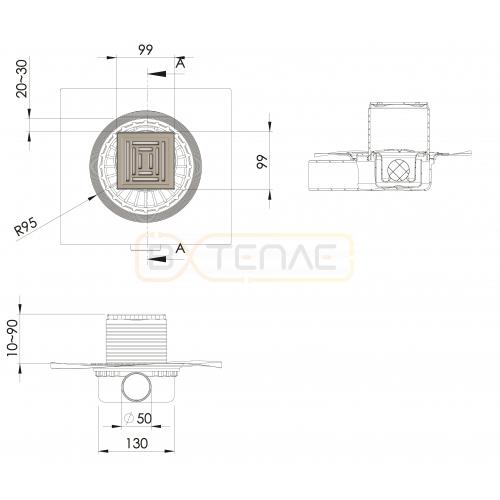 Душевой трап BERGES ZENTRUM Uno 100х100, матовый хром, боковой выпуск сифон D50 H65