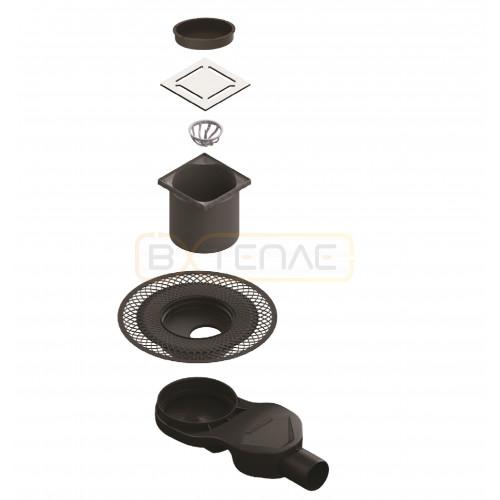 Душевой трап BERGES PLATZ Norma 150х150, матовый хром, боковой выпуск S-сифон D50 H60