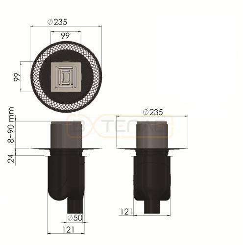 Душевой трап BERGES PLATZ Uno 100х100, матовый хром, вертикальный выпуск S-сифон D50/105мм H30/80мм