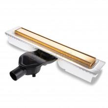 Душевой лоток BERGES В1 Keramik 600, золото глянец, боковой выпуск S-сифон D50 H60