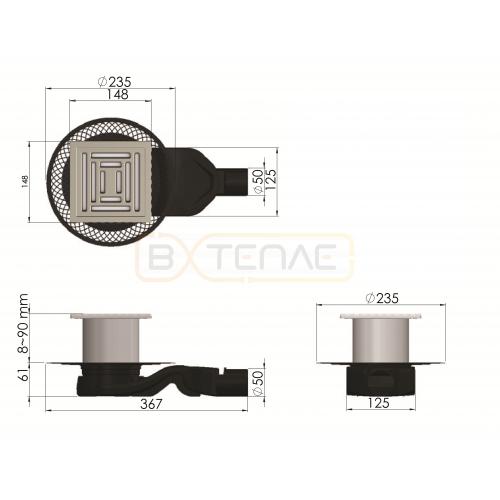 Душевой трап BERGES PLATZ Uno 150х150, матовый хром, боковой выпуск S-сифон D50 H60