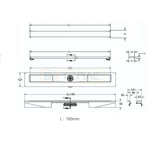 Душевой лоток BERGES C1 Norma 700, матовый хром, вертикальный выпуск S-сифон D50/105мм H30/80мм