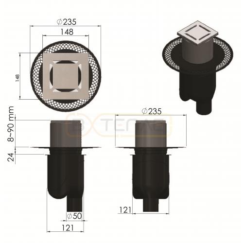 Душевой трап BERGES PLATZ Norma 150х150, матовый хром, вертикальный выпуск S-сифон D50/105мм H30/80мм