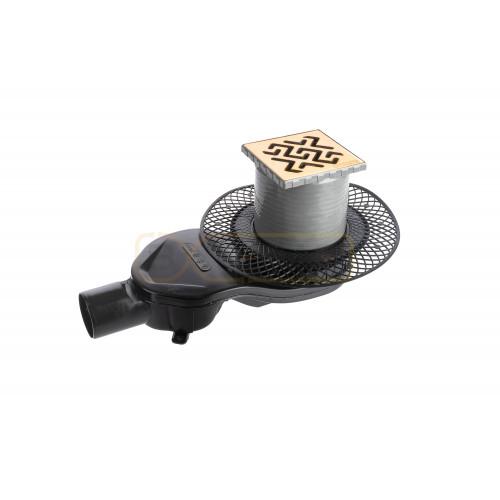 Душевой трап BERGES PLATZ Antik 100х100, золото хром, боковой выпуск S-сифон D50 H60