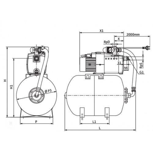 Насосная станция c мембранным баком Wilo HiMulti 3 H 100/2-44 P