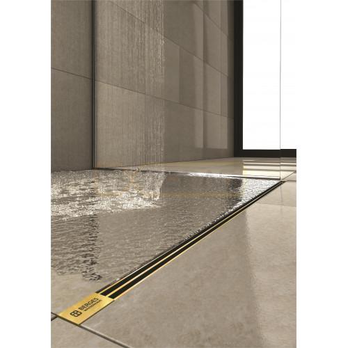 Душевой лоток BERGES SUPER Slim 800, золото глянец, вертикальный выпуск S-сифон D50/105мм H30/135мм