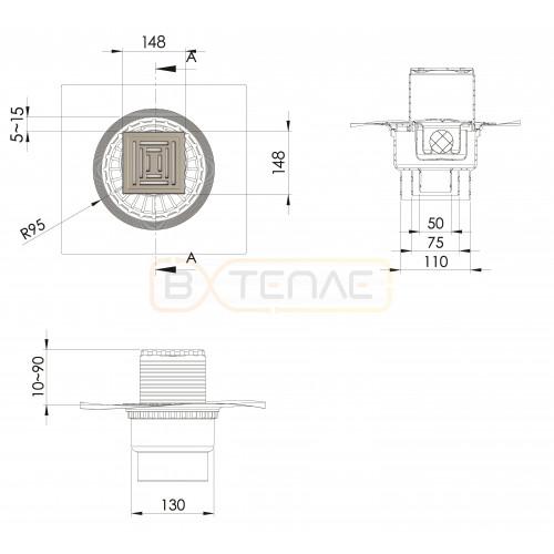 Душевой трап BERGES ZENTRUM Uno 150х150, матовый хром, вертикальный выпуск сифон D50/70/100мм H74