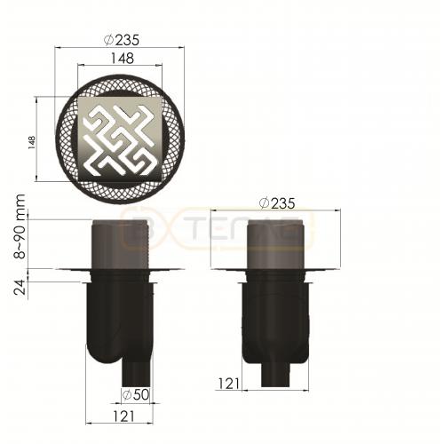 Душевой трап BERGES PLATZ Antik 150х150, матовый хром, вертикальный выпуск S-сифон D50/105мм H30/80мм