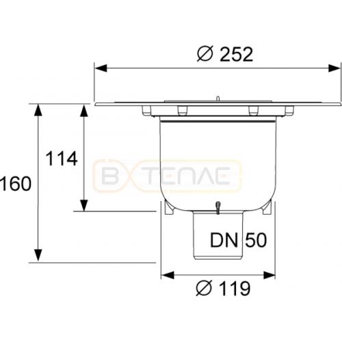 Сифон для душевого трапа DN50 TECEdrainpoint S вертикальный