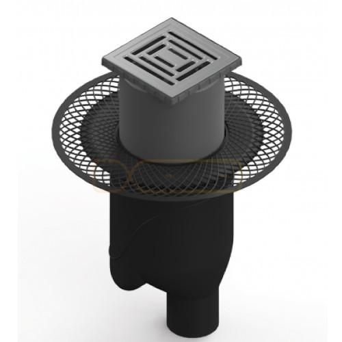 Душевой трап BERGES PLATZ Uno 150х150, матовый хром, вертикальный выпуск S-сифон D50/105мм H30/80мм