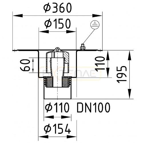 Дренажный трап BASIKA л/c 1,6 DN 100