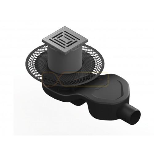 Душевой трап BERGES PLATZ Uno 100х100, матовый хром, боковой выпуск S-сифон D50 H60