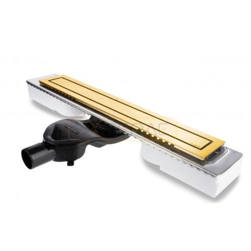 Душевой лоток BERGES TOP Stark 600, золото глянец, боковой выпуск S-сифон D50 H60