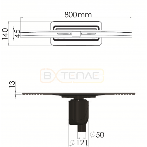 Душевой лоток BERGES SIMPEL 800, матовый хром, вертикальный выпуск S-сифон D50/105мм H30/80мм