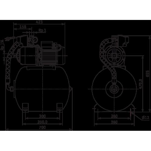 Насосная станция c мембранным баком Wilo HMP 604-DM-2