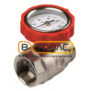 Шаровый кран с термометром красный, 77381004