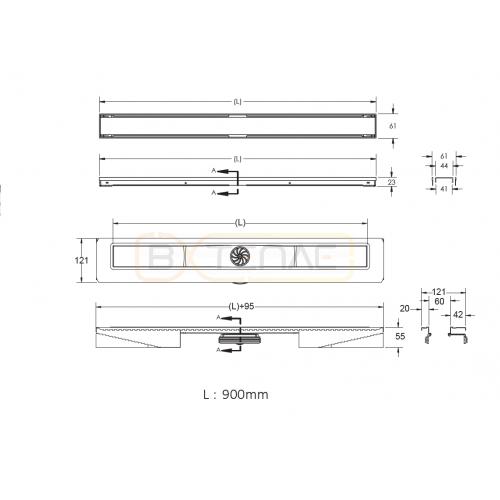 Душевой лоток BERGES В1 Antik 900, золото глянец, вертикальный выпуск S-сифон D50/105мм H30/135мм