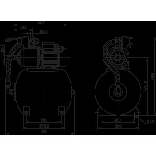 Насосная станция c мембранным баком Wilo HMC 605-DM-2