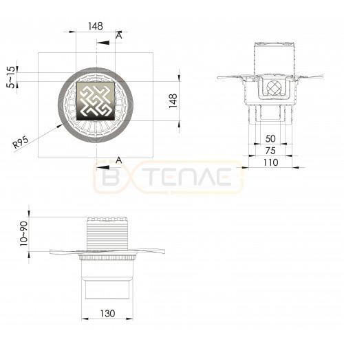Душевой трап BERGES ZENTRUM Antik 150х150, матовый хром, вертикальный выпуск сифон D50/70/100мм H74