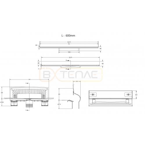 Душевой лоток BERGES WALL 600 пристенный, матовый хром, вертикальный выпуск S-сифон D50/105мм H30/80мм