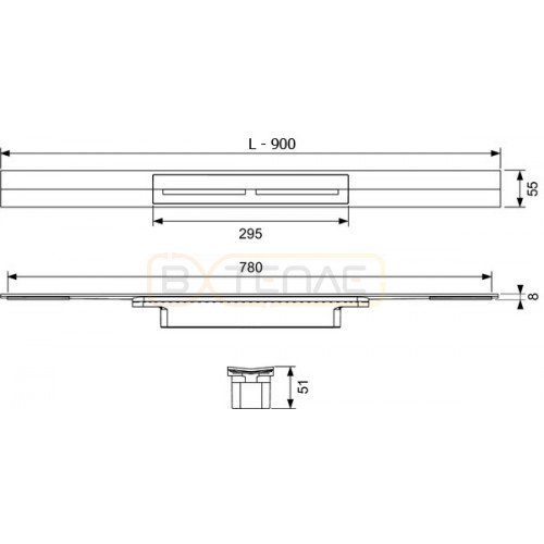 Душевой лоток TECE TECEdrainprofile 900 мм сатин