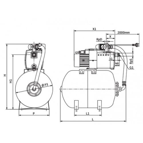 Насосная станция c мембранным баком Wilo HiMulti 3 H 50/2-24 P