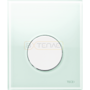Кнопка смыва TECE Loop Urinal зеленое стекло, кнопка белая, 9242651