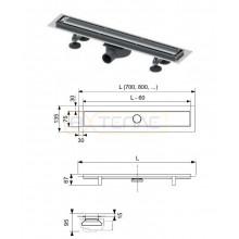"""Комплект TECElinus для монтажа дренажного канала с основой для плитки """"tile"""" и панелью """"steel"""""""
