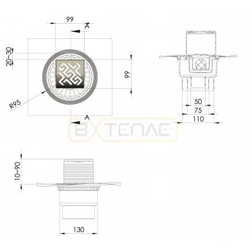 Душевой трап BERGES ZENTRUM Antik 100х100, золото хром, вертикальный выпуск сифон D50/70/100мм H74