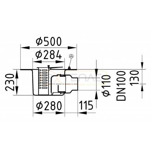 Дренажный трап с горизонтальным штуцером BASIKA л/c 7,0 DN 100