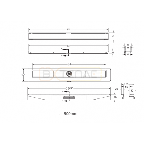 Душевой лоток BERGES В1 Keramik 900, матовый хром, вертикальный выпуск S-сифон D50/105мм H30/80мм